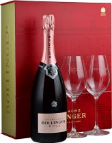 Bollinger Rose NV Champagne 75cl with 2 Elizabeth Glasses in Red Box