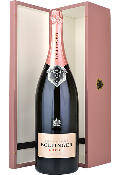 Bollinger Rose NV Champagne Jeroboam (3 litre) in Pink Wood Box