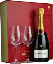 Bollinger Special Cuvee 75cl with 2 Elizabeth Glasses in Red Box