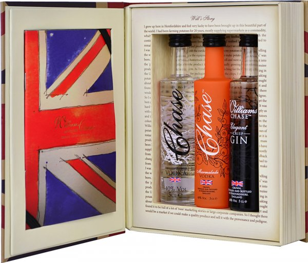 Chase Vodka Brand Book Trio Gift Set 3 x 5cl