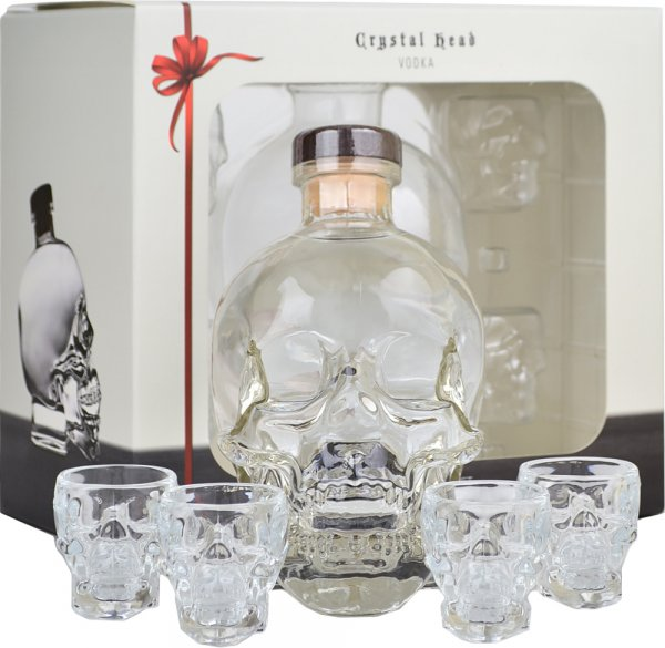 Crystal Head Vodka 70cl with 4 Shot Glass Gift Set