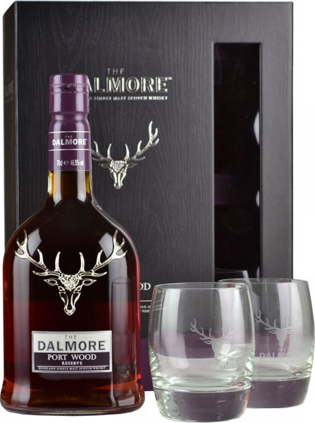 Dalmore Port Wood Reserve Whisky 70cl with 2 Glasses Gift Pack
