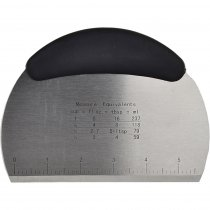 Dough Scraper, Pastry, Pizza Cutter Chopper with Handle and Measuring Scale - Stainless Steel