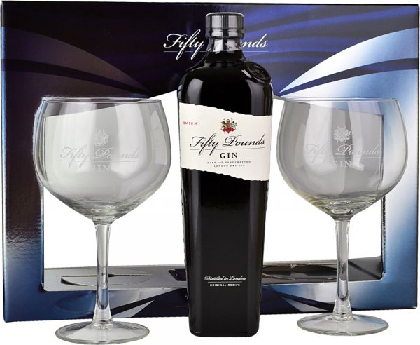 Fifty Pounds Gin 70cl with 2 Glasses Gift Set