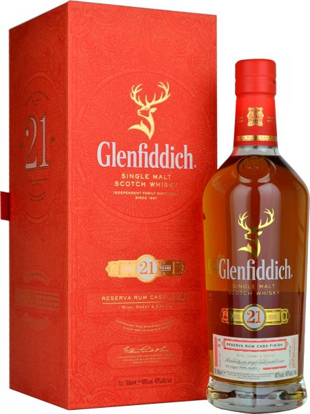Glenfiddich 21 Year Old Reserva Rum Cask Finish Single Malt Whisky 70cl