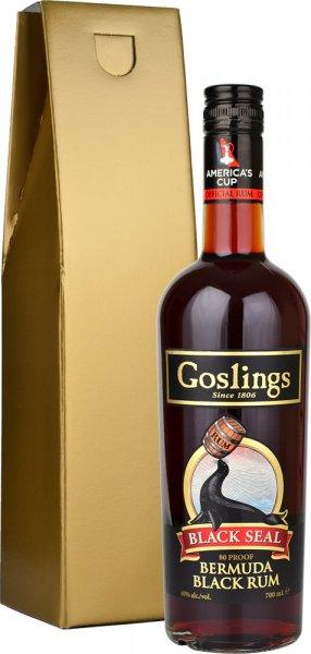 Goslings Black Seal 80 Proof Rum 70cl in Gold Gift Box