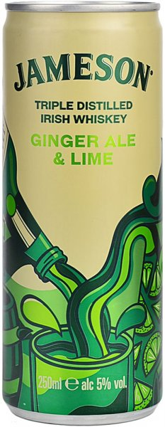 Jameson Irish Whiskey with Ginger Ale & Lime Can 250ml