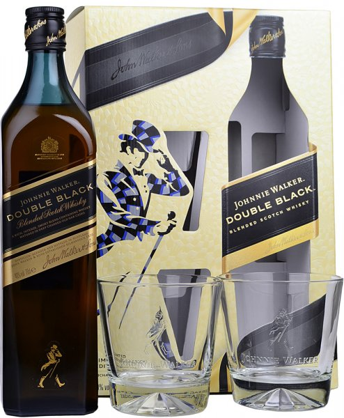 Johnnie Walker Double Black Whisky 70cl & Two Glass Tumblers Gift Pack
