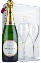 Laurent Perrier La Cuvee NV Champagne 75cl with 2 Glasses Gift Set