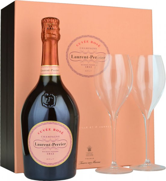 Laurent Perrier Rose NV Champagne 75cl with 2 Glasses Gift Set