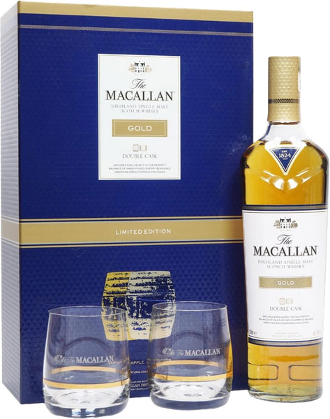 Macallan Gold Double Cask 70cl with 2 Glasses Gift Set