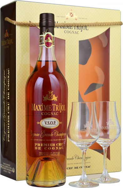 Maxime Trijol VSOP Grande Champagne Cognac 70cl with 2 Glass Gift Pack