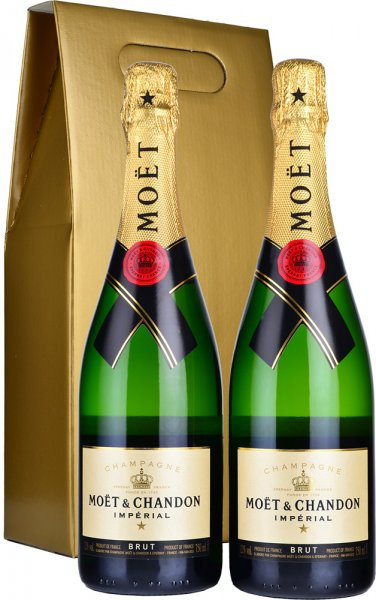 Moet & Chandon Brut NV Champagne 2 x 75cl in Gold Gift Box