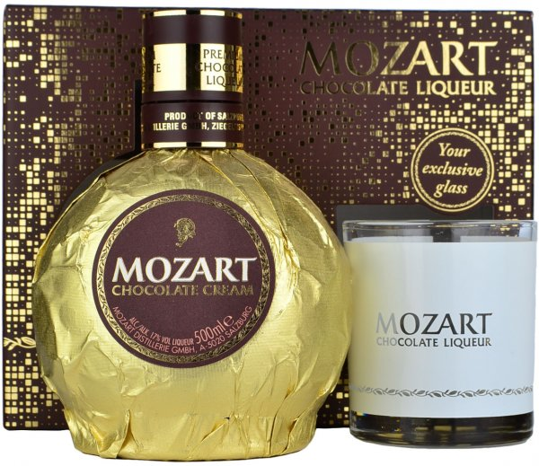 Mozart Gold Chocolate Cream Liqueur 50cl with Glass Gift Pack