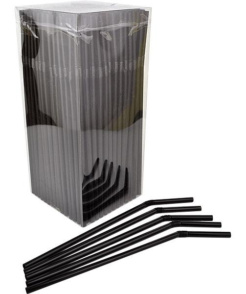 Plastic Straws - Black (250 Pack)