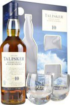 Talisker 10 Year Old Single Malt Whisky 70cl with 2 Glasses Gift Set