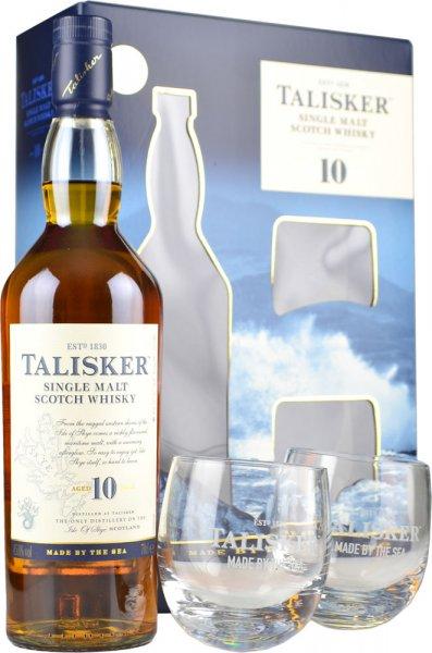 Talisker 10 Year Old Single Malt Whisky 70cl with 2 Glasses Gift Set