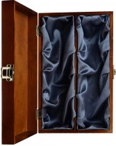 Wood Box - Luxury Hinged Silk Lined 2 Bottle